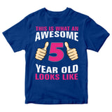 Birthday Gift Kid's T-Shirt Awesome 5 Year Old Girl T-Shirt-Gildan-Daataadirect.co.uk