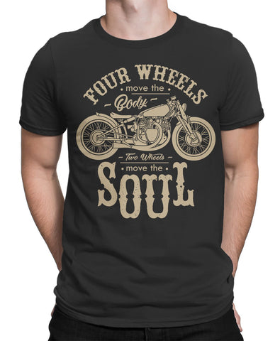 Four Wheel Move the Body Two wheels Move Soul Mens T-Shirt-FULL THROTTLE™-Daataadirect.co.uk