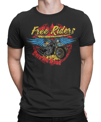 Free Rider Burn the Road Mens T-Shirt-FULL THROTTLE™-Daataadirect.co.uk