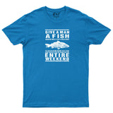 Give A Man A Fish Mens T Shirt Fishing Fathers Day Birthday T-Shirt-Gildan-Daataadirect.co.uk