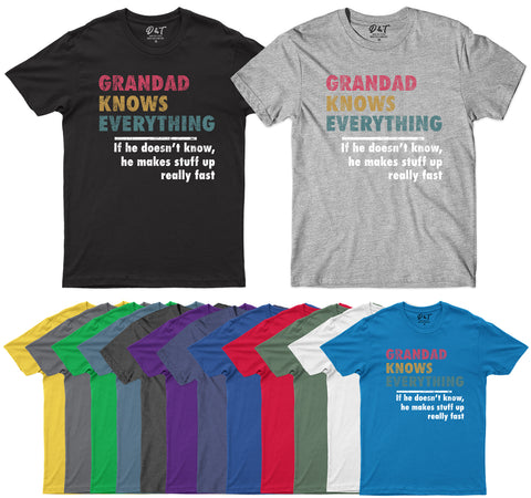 Grandad Knows Everything Fathers Day Mens T-Shirt-Gildan-Daataadirect.co.uk