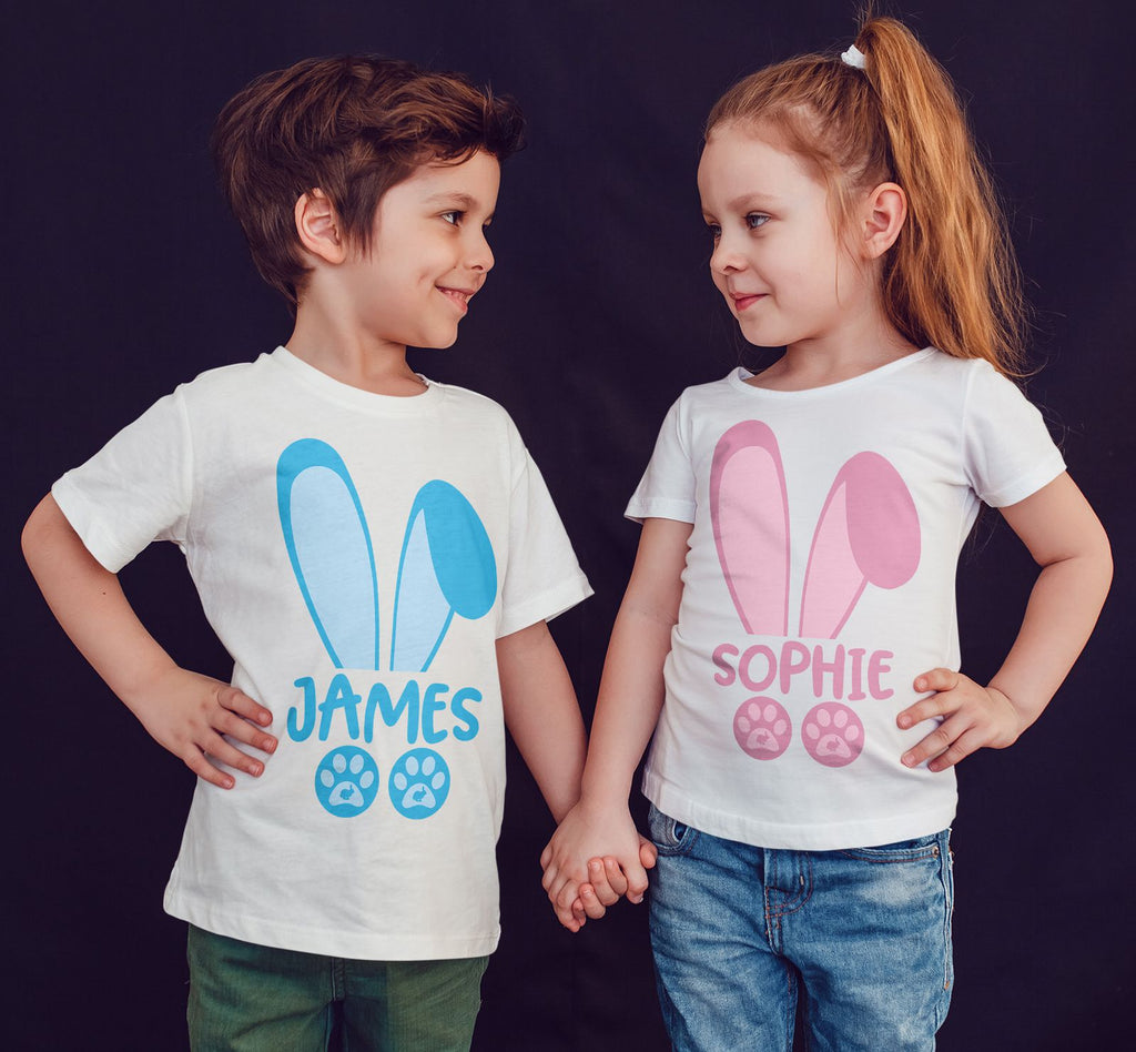 a438e26ea Happy Easter Blue bunny Pink Bunny Personalized your name Kids T Shirts -Gildan-Daataadirect