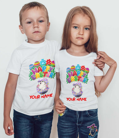 Happy Easter Cute Easter Bunny Personalized your name Kids T Shirts-Gildan-Daataadirect.co.uk