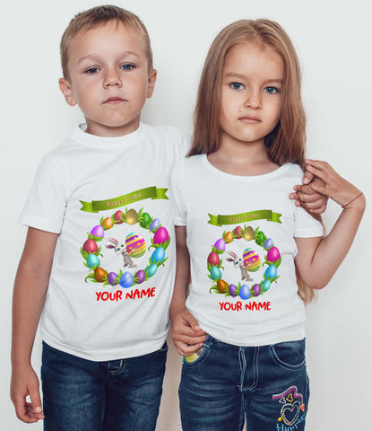 Happy Easter Kids T Shirts Bunny Egg Personalized Kids Tees-Gildan-Daataadirect.co.uk