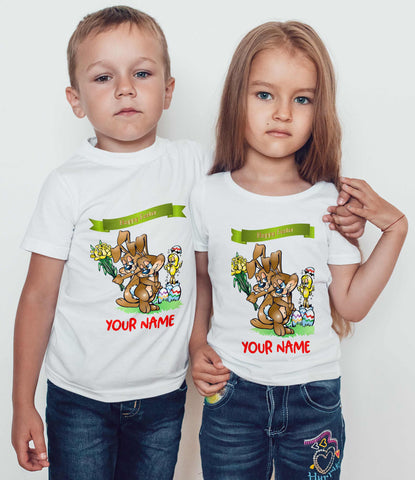 Easter Kids T Shirts Bunnies Egg Hunts chicken Kids Personalized Tees-Gildan-Daataadirect.co.uk