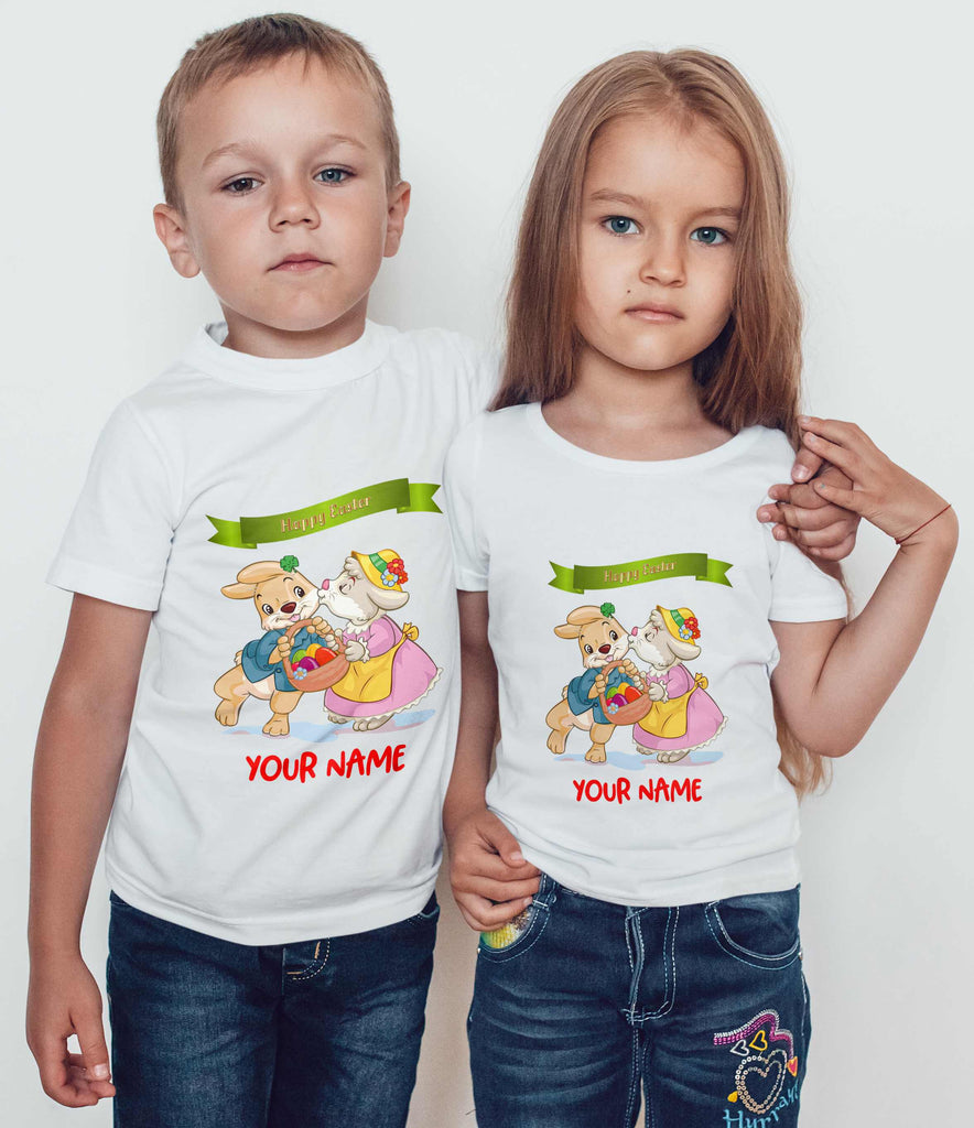 1a2ac7b52f330 Bunnies Egg Basket Easter Personalized Kids T Shirts