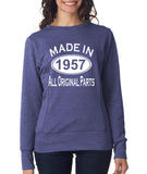 "[daataadirect.co.uk]-Made in 1957 All Orignal Parts Women Sweat Shirts White-SweatShirts-ANVIL-Heather Blue-S UK 10 Euro 34 Bust 32""-Daataadirect"