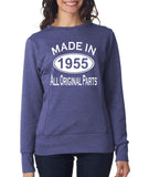 "[daataadirect.co.uk]-Made in 1955 All Orignal Parts Women Sweat Shirts White-SweatShirts-ANVIL-Heather Blue-S UK 10 Euro 34 Bust 32""-Daataadirect"
