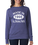 Made in 1998 All Original Parts Women Sweat Shirts White-ANVIL-Daataadirect.co.uk