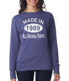 Made in 1989 All Original Parts Women Sweat Shirts White-ANVIL-Daataadirect.co.uk