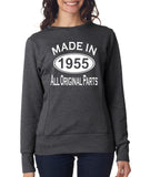 "[daataadirect.co.uk]-Made in 1955 All Orignal Parts Women Sweat Shirts White-SweatShirts-ANVIL-Heather Dark Grey-S UK 10 Euro 34 Bust 32""-Daataadirect"