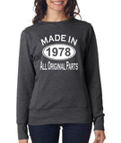Made in 1978 All Original Parts Women Sweat Shirts White-ANVIL-Daataadirect.co.uk