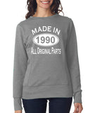 Made in 1990 All Original Parts Women Sweat Shirts White-ANVIL-Daataadirect.co.uk