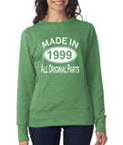 Made in 1999 All Original Parts Women Sweat Shirts White-ANVIL-Daataadirect.co.uk