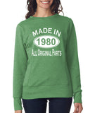 Made in 1980 All Original Parts Women Sweat Shirts White-ANVIL-Daataadirect.co.uk