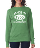 "[daataadirect.co.uk]-Made in 1955 All Orignal Parts Women Sweat Shirts White-SweatShirts-ANVIL-Heather Green-S UK 10 Euro 34 Bust 32""-Daataadirect"