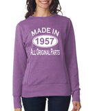 "[daataadirect.co.uk]-Made in 1957 All Orignal Parts Women Sweat Shirts White-SweatShirts-ANVIL-Heather Purple-S UK 10 Euro 34 Bust 32""-Daataadirect"