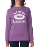 "[daataadirect.co.uk]-Made in 1955 All Orignal Parts Women Sweat Shirts White-SweatShirts-ANVIL-Heather Purple-S UK 10 Euro 34 Bust 32""-Daataadirect"