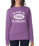 Made in 1986 All Original Parts Women Sweat Shirts White-ANVIL-Daataadirect.co.uk