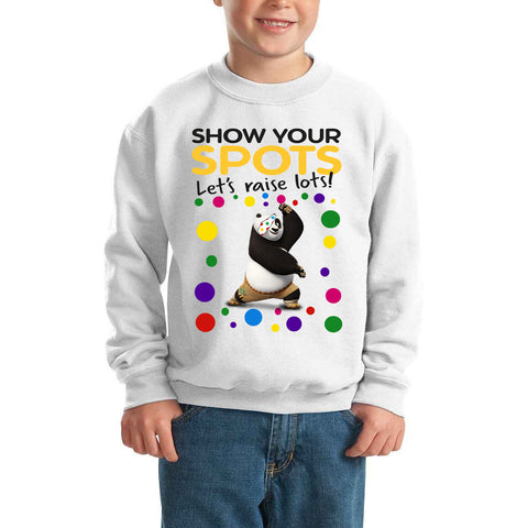 Kungfu Panda Pudsey Bear Spotty Day - Kids SweatShirt-Gildan-Daataadirect.co.uk