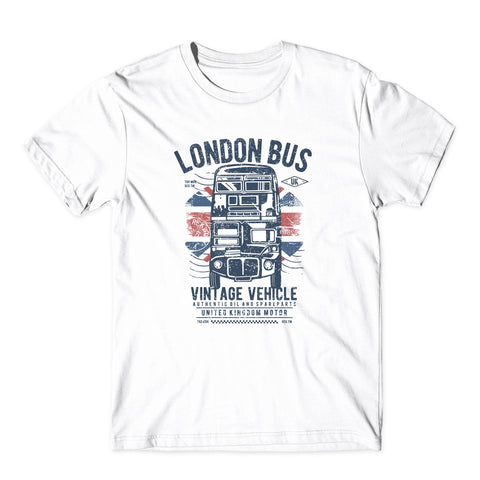London Bus Vintage Vehicle T-Shirt-Gildan-Daataadirect.co.uk