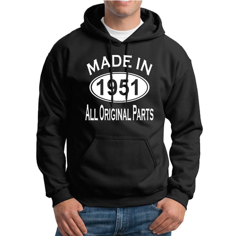 Made in 1951 all original parts 68th Birthday Gift Present Mens Hoodies-MADE IN (BIRTH YEAR) ALL ORIGINAL PARTS-Daataadirect.co.uk