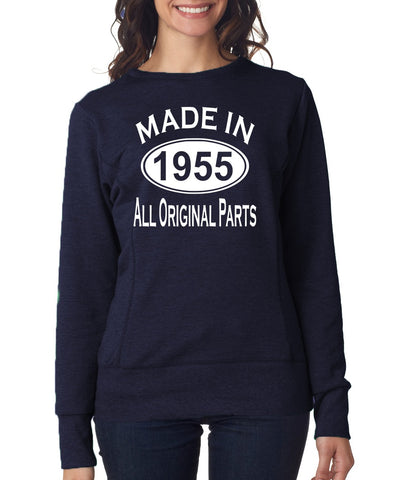 64Th Birthday Made In 1955 All Original Parts Gift Present Womens Sweatshirt-MADE IN (BIRTH YEAR) ALL ORIGINAL PARTS-Daataadirect.co.uk
