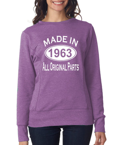 56Th Birthday Made In 1963 All Original Parts Gift Present Womens Sweatshirt-MADE IN (BIRTH YEAR) ALL ORIGINAL PARTS-Daataadirect.co.uk