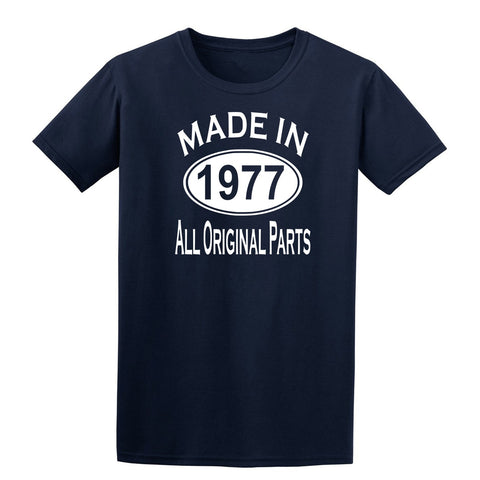 Made in 1977 all original parts 42th Birthday Gift Present Mens T-Shirt-MADE IN (BIRTH YEAR) ALL ORIGINAL PARTS-Daataadirect.co.uk