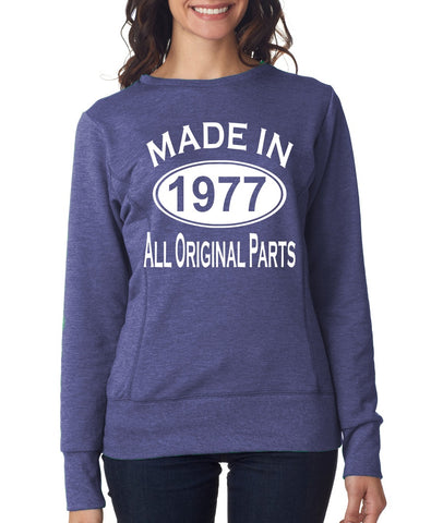 42Th Birthday Made In 1977 All Original Parts Gift Present Womens Sweatshirt-MADE IN (BIRTH YEAR) ALL ORIGINAL PARTS-Daataadirect.co.uk