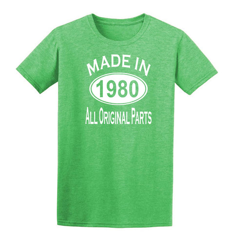 Made in 1980 all original parts 39th Birthday Gift Present Mens T-Shirt-MADE IN (BIRTH YEAR) ALL ORIGINAL PARTS-Daataadirect.co.uk