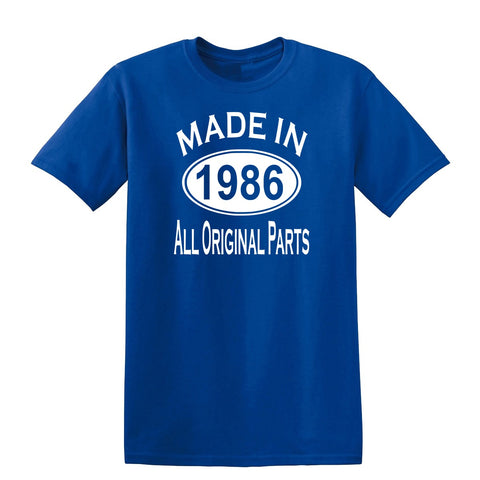 Made in 1986 all original parts 33th Birthday Gift Present Mens T-Shirt-MADE IN (BIRTH YEAR) ALL ORIGINAL PARTS-Daataadirect.co.uk