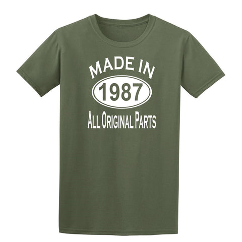 Made in 1987 all original parts 32th Birthday Gift Present Mens T-Shirt-MADE IN (BIRTH YEAR) ALL ORIGINAL PARTS-Daataadirect.co.uk