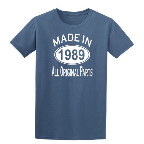Made in 1989 all original parts 30th Birthday Gift Present Mens T-Shirt-MADE IN (BIRTH YEAR) ALL ORIGINAL PARTS-Daataadirect.co.uk