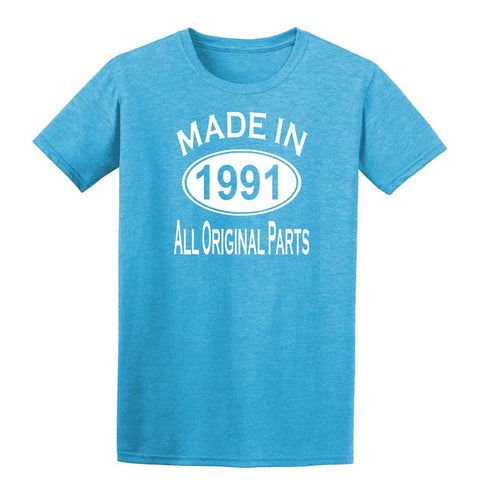 Made in 1991 all original parts 28th Birthday Gift Present Mens T-Shirt-MADE IN (BIRTH YEAR) ALL ORIGINAL PARTS-Daataadirect.co.uk