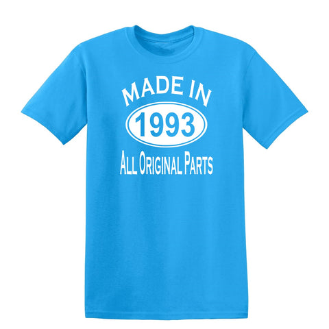 Made in 1993 all original parts 26th Birthday Gift Present Mens T-Shirt-MADE IN (BIRTH YEAR) ALL ORIGINAL PARTS-Daataadirect.co.uk