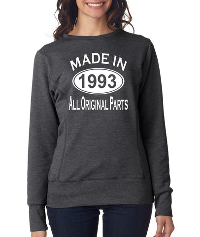 26Th Birthday Made In 1993 All Original Parts Gift Present Womens Sweatshirt-MADE IN (BIRTH YEAR) ALL ORIGINAL PARTS-Daataadirect.co.uk