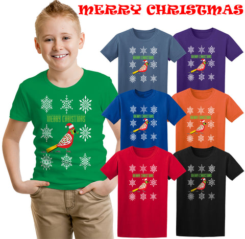 Merry Christmas T-Shirt Red Bird In Snow Holding  Holy Berries Kids T-Shirt Kids T Shirts