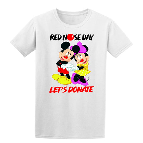 Micky&Minnie Red Nose Day Boy Girl School Kids T-Shirt-Gildan-Daataadirect.co.uk