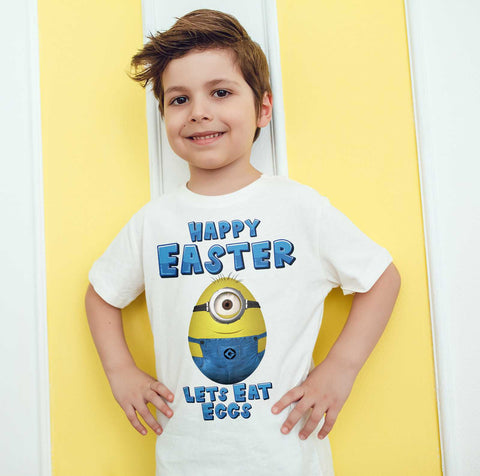 Easter Kids T Shirts Minion Easter Egg Happy Easter Lets Eat Eggs Mock Kids Tees-Gildan-Daataadirect.co.uk