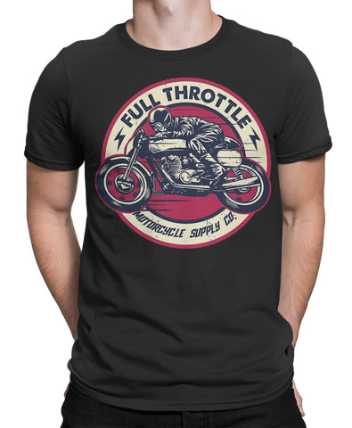 Motorbiker Full Throttle Mens T-Shirt-FULL THROTTLE™-Daataadirect.co.uk