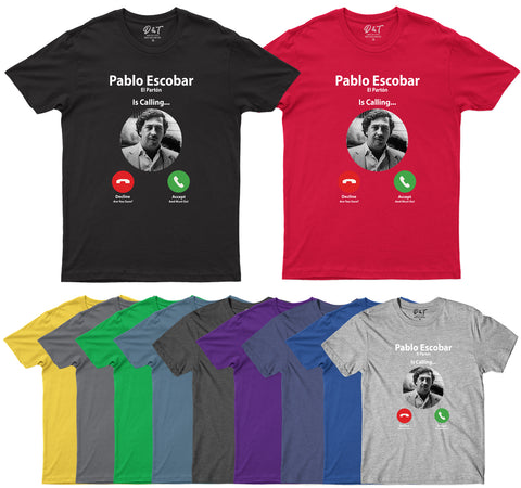 Pablo Escobar Is Calling Funny Cocaine King Mens T-Shirt-Gildan-Daataadirect.co.uk