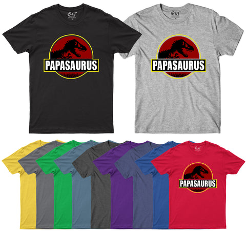 Papasauras Funny Dad Fathers Day T-Rex Mens T-Shirt-Gildan-Daataadirect.co.uk