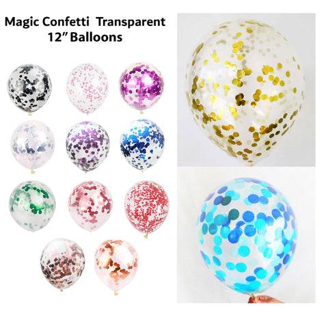 1Pc 12Inch Transparent Magic Latex Balloon Sequins Confetti Balloon Party-Puppy Kitty Balloons-Daataadirect.co.uk