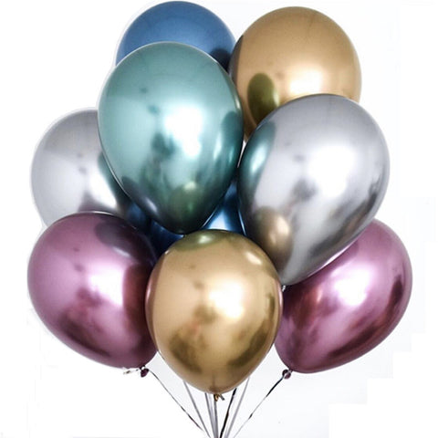 12Inch Chrome Party Balloons, Metallic Latex Balloons, Party Decoration, Birthday Party Balloons, Party Balloons-Puppy Kitty Balloons-Daataadirect.co.uk