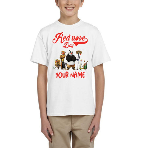 Kung Fu Panda Red Nose day 2019 Personalised Boy Girl Kids-T-Shirts-Gildan-Daataadirect.co.uk