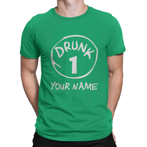 St patrick Day Your Name Drunk 1 Shamrock Clover Paddys Unisex T Shirts-Gildan-Daataadirect.co.uk