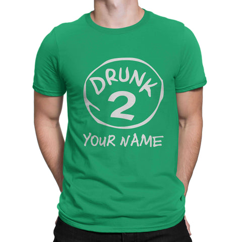 St patrick Day Shamrock Your Name Drunk 2 Clover Paddys Unisex T Shirts-Gildan-Daataadirect.co.uk