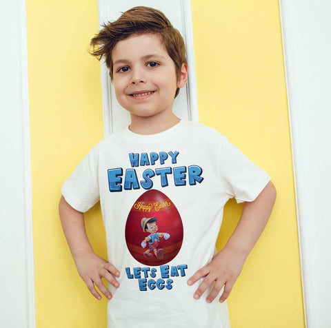 Easter Kids T Shirts Pinocchio Easter Egg Happy Easter Lets Eat Eggs Kids Tees-Gildan-Daataadirect.co.uk