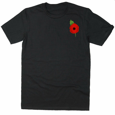 Poppy Lest We Forget Remembrance Day Poppy Badge T-shirt-Gildan-Daataadirect.co.uk